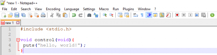 Program syntax in NotePad++